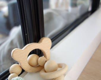 Montessori Educational rattle: beads natural wood and hook - bear model baby teething ring - handmade