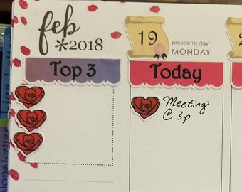 Heart Checklist - 1 or 3 - February/Valentine's Day Rose Stickers for Planners and Journals