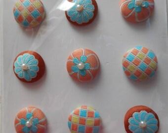 """Set of 9 Brads, studs """"Parisian ties"""" fabric with beads"""