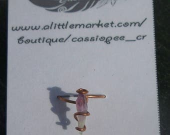 copper ring and two-tone raw Amethyst (Lavender & white) 5