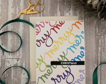 Rainbow Script Merry Christmas card