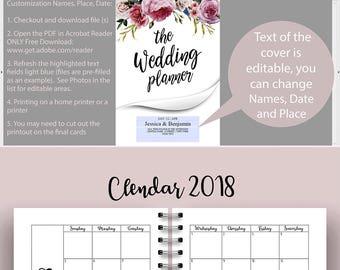 Wedding Planner Notebook, Wedding Journal, Wedding planner; Wedding planner book, Wedding planner printable, Wedding binder printables