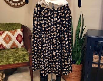 90's midi button down floral skirt