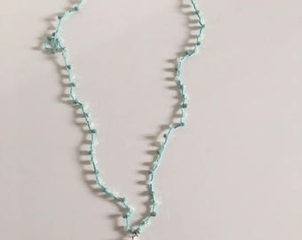 Tiffany Green Crocheted Necklace with Cotton Nappa and Crystals