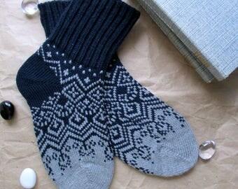 Dark blue grey men socks bright colours New year Christmas Scandinavian pattern rustic autumn winter knit wool socks present giftknitting
