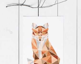 Nursery Fox Art / Woodland Nursery Art / Nursery Print Download / Gender Neutral Nursery / Animal Nursery Art / Geometric Animal Art