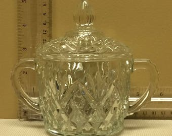 Vintage Crystal Sugar Bowl with Handles and Lid