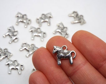 Dala Horse Charm double sided 14 x 12mm, Silver Coloured Charm, Dalecarlian horse, Swedish horse