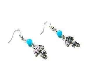 Earrings, umbrella, beads, blue, little girl