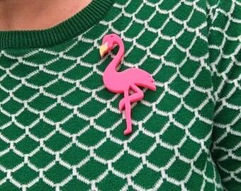 Flamingo Brooch Pink Acrylic retro