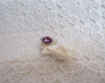 Amethyst, Opal silver life ring