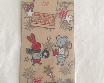 Tag label present, or bookmark small Christmas mouse