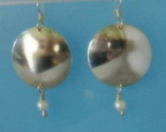 Fine silver Disk Earrings on Sterling ear wires with Swarovski pearls