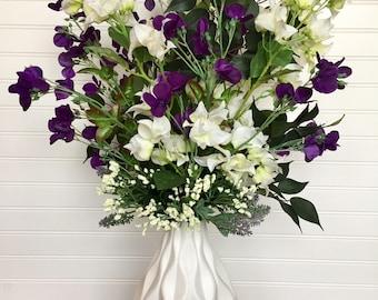 Silk Flower Arrangement, Contemporary Floral Arrangement With Purple Blossoms and White Bougainvilleas, Modern Floral Table Centerpiece