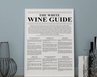 The white wine guide print, kitchen prints, Wall art, Art Print, kitchen wall decor, kitchen posters