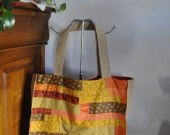 Tote bag patchwork of Browns, yellow, orange, burlap and lining fabrics rust