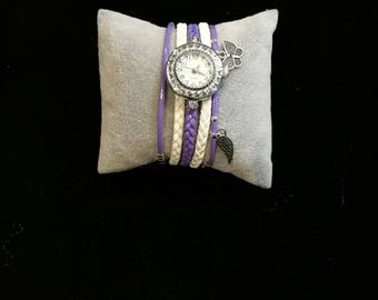 Wristwatch multi strand white and purple