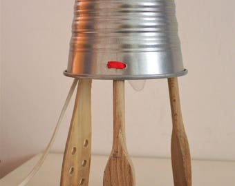 recycled industrial tin lamp