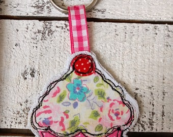 Cupcake Fabric Embroidered Keychain