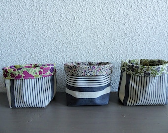 Set of 3 mini trinket or planters in ticking and liberty