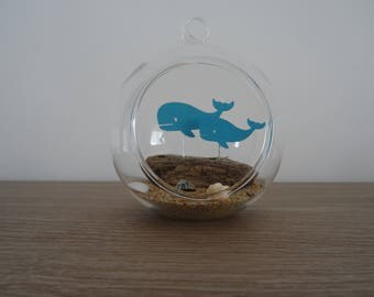 Suspension / whales decoration to hang or place glass ball