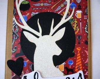 """Carte de voeux """"toujours"""" monde des sociers, magie avec cerf et papier imprimé. Made in France. Pièce unique"""