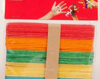 Bâtonnet en bois multicolore x 50 (11,4 x 1 cm) - APLI - Ref 13064 ---------- Jusqu'à épuisement du stock !
