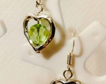Earrings - silver pendants hangers - Pearl Crystal and silver heart - woman - romantic style earrings
