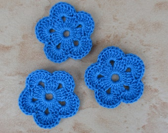 set of 3 blue flowers 5 petals crochet