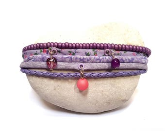 Purple pink floral fabric bracelet and beads multi strand
