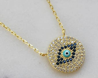 Pave evil eye necklace