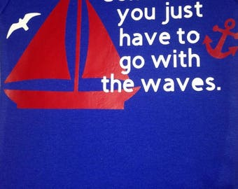 cute baby toddler sail boat shirt with anchor, seagulls and quote in red, white, and blue