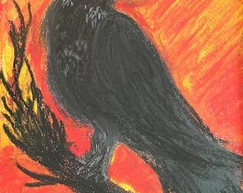 """Dry Pastels - """"Framed Original"""" - """"Crow"""""""