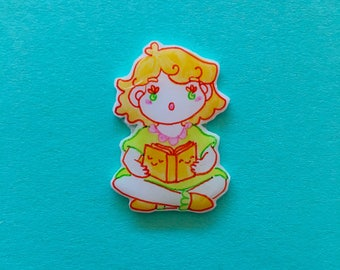 reading gurl - handmade pin