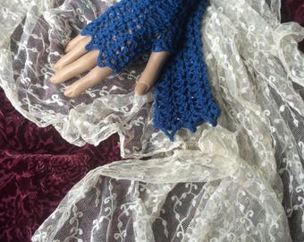Victorian Mittens Gauntlet Fingerless Gloves Beaded