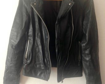 Black Leather Biker Jacket XS EU