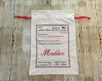 Personalized Santa Sack, Christmas sack, Christmas present bag, custom Santa bag