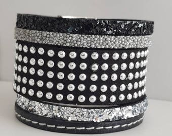 Silver/Black/gray tone magnetic clasp leather Cuff Bracelet