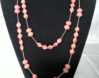 Pretty pink Czech glass necklace, hand knotted on pink silk