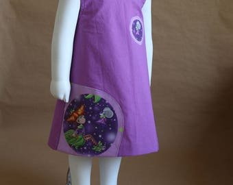 Melusine - Girl 2 years in bright purple cotton dress