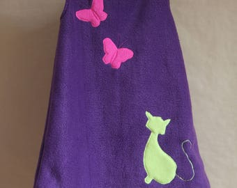 So cat - 6 years, purple fleece girl dress - cat and butterflies
