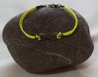 Neon  polyester wax cord, rope chain bracelets with Infinity connectors