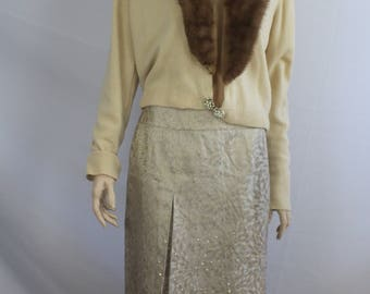 60s sweater, vintage 1960s, fur removable collar, sweater, vintage cardigan sweater, brown fur, vintage holiday fur sweater, 1960s L large
