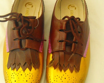 Hand painted or custom womens Candela brown fringe tongue shoe size 7.5 gold and pink fun for back to school