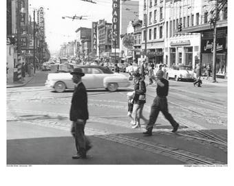 Poster Print of Granville Street, Vancouver, 1951