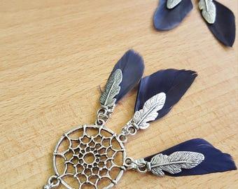 Dream catcher earrings pair with genuine dark purple feathers
