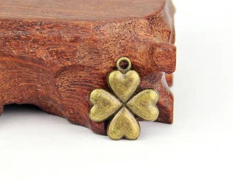 20 pcs Lucky Charm Four Leaf Clover Antique Bronze Filigree Lucky Flower Charms 17x21mm