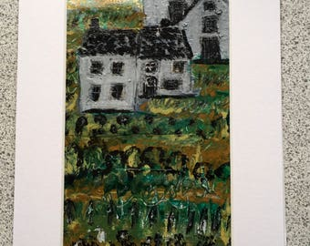 The Farm,, a mixed media abstract painting on paper 16cm x25 cm