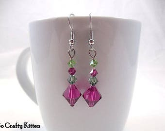 Pink and Green Swarovski Crystal Drop Earrings with Lots of Sparkle