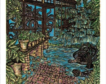 Who Invited Us, Color Woodcut